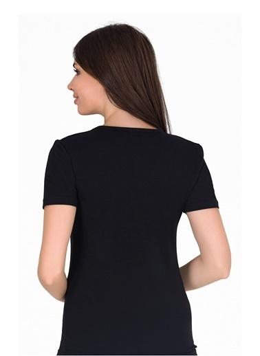Sensu Kadın V Yaka Basic T-Shirt Siyah Renk Tsr1003 Renkli